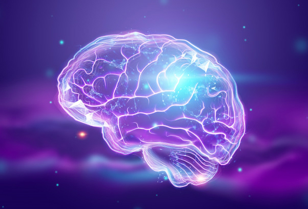 brain in 3 dimensions with lightning